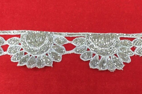 Product #B71 | Handmade Exclusive Border with Silver CutBeads Scallops