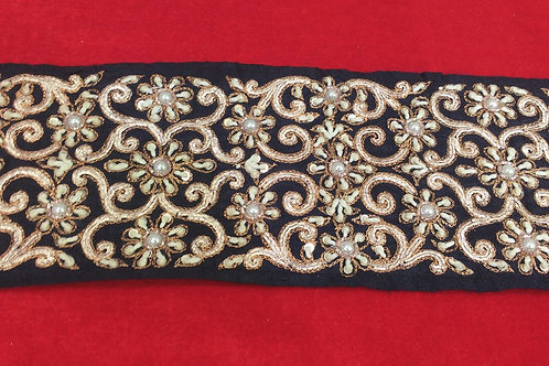 Product #B39 | Hand-Embroidered Exclusive Border with Fine Threadwork Patterns