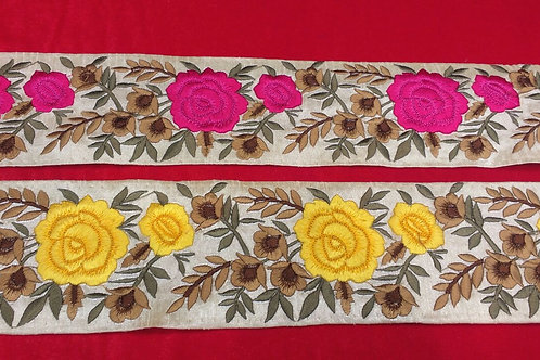 Product #B114 | Machine Embroidered Border with Floral Colorful Parsi GaraWork