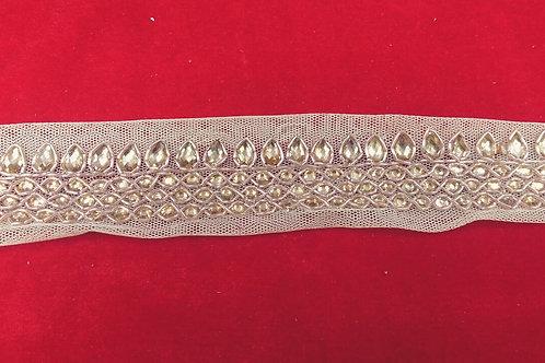 Product #B81 | Hand Embroidered Kunda Work Border with Silver Kundan Studs