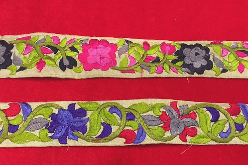 Product #B111 | Machine Embroidered Narrow Border with Floral Parsi Gara Work