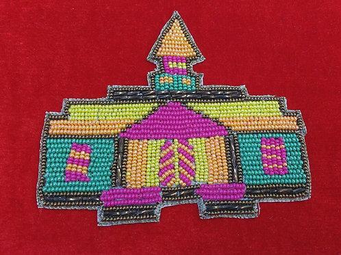 Product #P08 | BeadWork Patch HandMade Multicolor Classic Church Design
