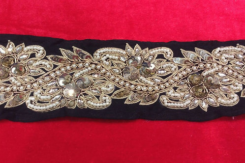 Product #233   Hand-Made Border with Kundans, Sequins and Pearlwork Trails