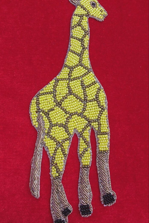 Product #P24 | BeadWork & ZardoziWork Patch Multicolor Wild Giraffe Design