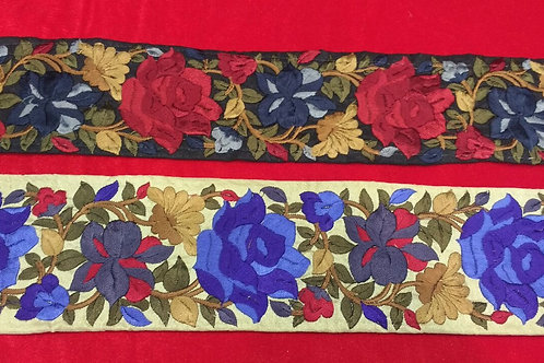 Product #B116   Machine Embroiidered Borders with Dense Floral Parsi GaraWork