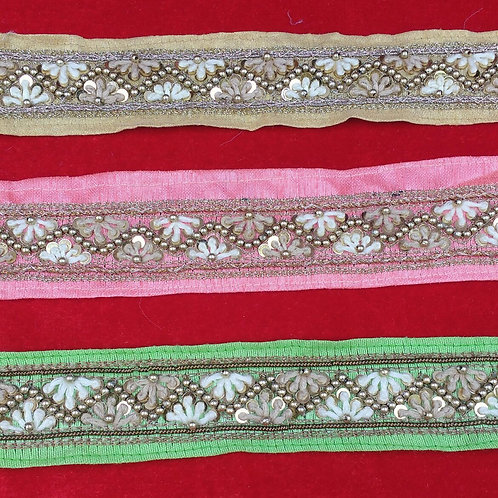 Product #B92   Handmade Exclusive Border with FrenchKnotting and Bead Trails