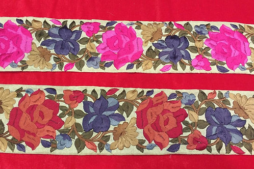 Product #B117 | Machine Embroidery Borders with Dense Floral Parsi GaraWork