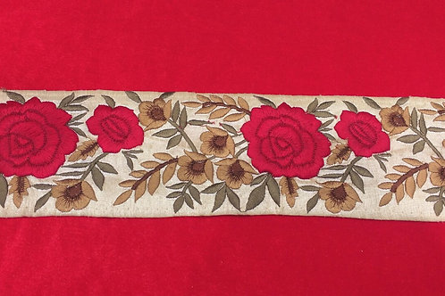 Product #B112 | Machine Embroidered Border with Floral Parsi  Gara Work