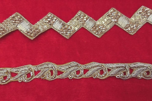 Product #Ne05 | Hand Embroidered Zardozi Cut-work Border with Sequins & Beads