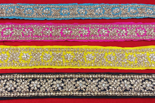 Product #B37 | Handmade Exclusive Border with KundanWork in Flower Patterns
