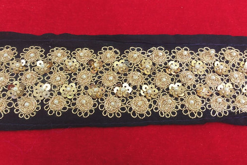 Product #B10 | Hand-Embroidery Border with Golden Sequins and Fine Threadwork
