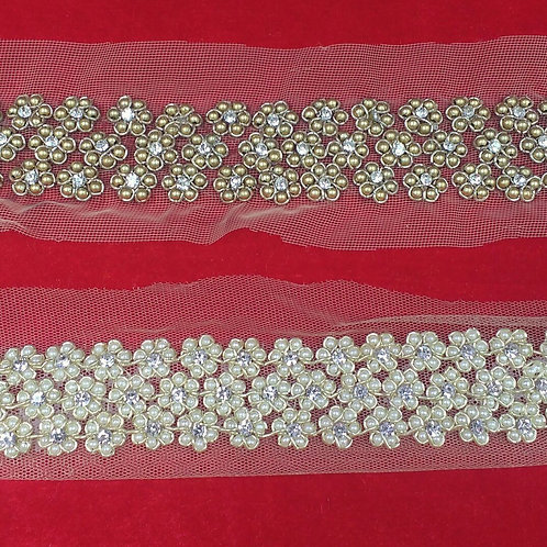 Product #B96 | Hand Embroidered Flower pattern Border of Pearl and Zarikadi