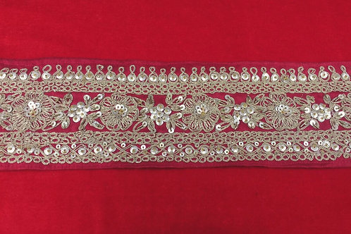 Product #B86 | Exclusive Handmade Broad Border with Rich WaterGolden Embroidery