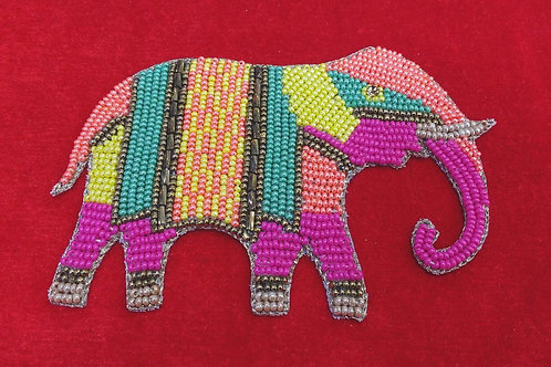 Product #P03 | BeadWork Patch HandMade Multicolor Elephant Design