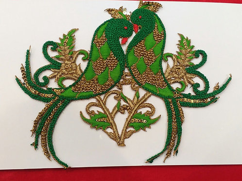 Product #564 | Zardozi-Work Patch Special Green Bird-Coup Design