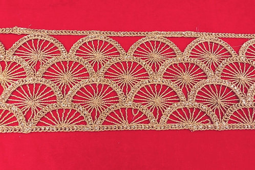 Product #B48 | CordWork Border Broad Golden Marodi Fan Patterns with Sequins