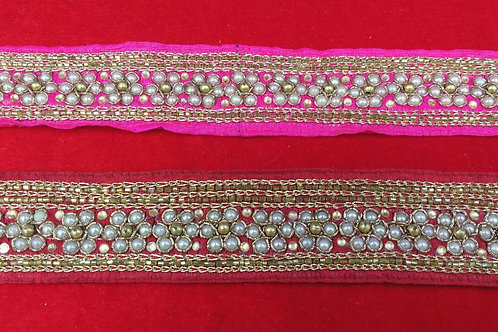 Product #B76 | Handmade Borders with Bead-Flower Patterns & Golden CutBead Trail