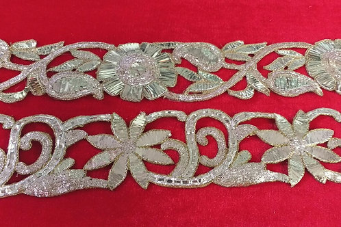 Product #B139   Hand Embroidered Badlawork with Mughal Flower-leaf Pattern