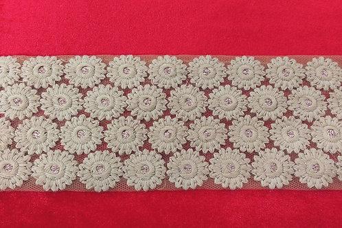 Product #B122 | Machine Embroidered Broad Border Dense Fine Flower Patterns