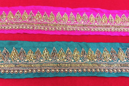 Product #B82 | Handmade Zardozi Border with CutBead Leaf Trails, Sequins & Beads