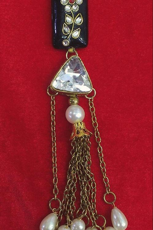Product #T13   Tassel with Kundan-Work Bead and Pearl Danglers