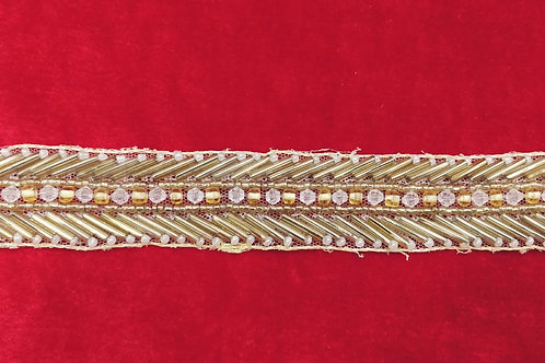 Product #Ne03 | Hand Embroidered Net Border with Glass Bugle Beads & Crystal