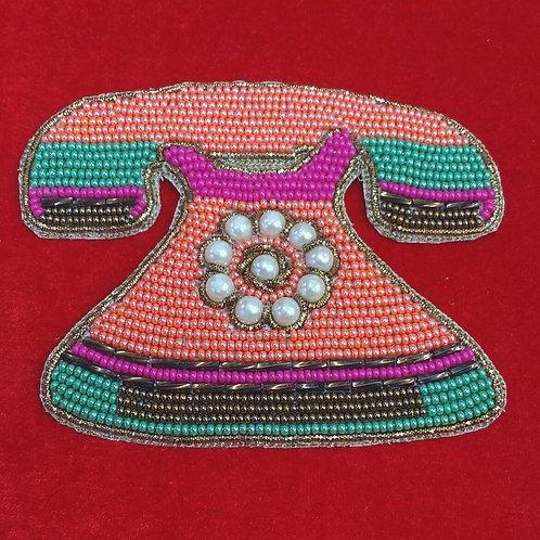 Product #P15   BeadWork Patch HandMade Multicolor Vintage Telephone Design