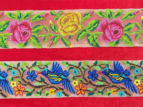 Product #Ne24   Machine Embroidered Cross stitched Border
