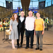 Dominic Ellis-Peckham with five15 supporters composers Cheryl Frances Hoad and Jennifer Fowler and five15 Project Manager Simon Funnell