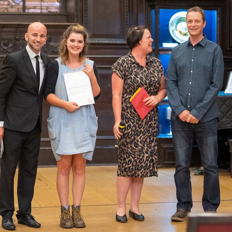 Winner Anna Disley-Simpson, with judges Dominic Ellis-Peckham, Jessica Curry and Tim Brooke