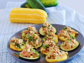 "Asian Chicken Salad on Zucchini ""Crackers"""