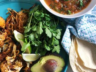Sheet Pan Cauliflower Tacos with Blender Salsa