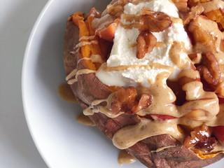 Peach Stuffed Sweet Potato Breakfast Bowls