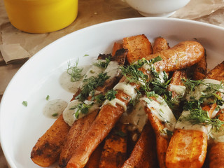 Smokey Roasted Carrots with Tahini Ranch