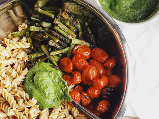 Roasted Vegetable & Dandelion Pesto Pasta