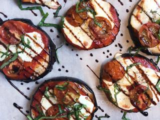 Grilled Eggplant Caprese Pizzas