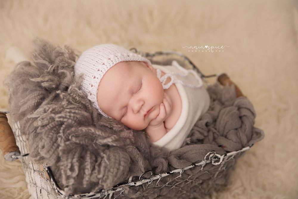 newborn baby boy in the basket hand under the chin