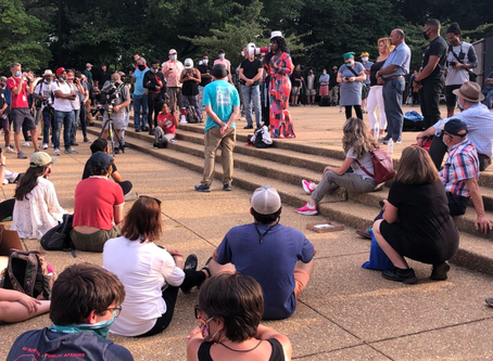 Rally attendees, demonstrators debate whether DC's Emancipation Memorial should stay or go (WJLA)