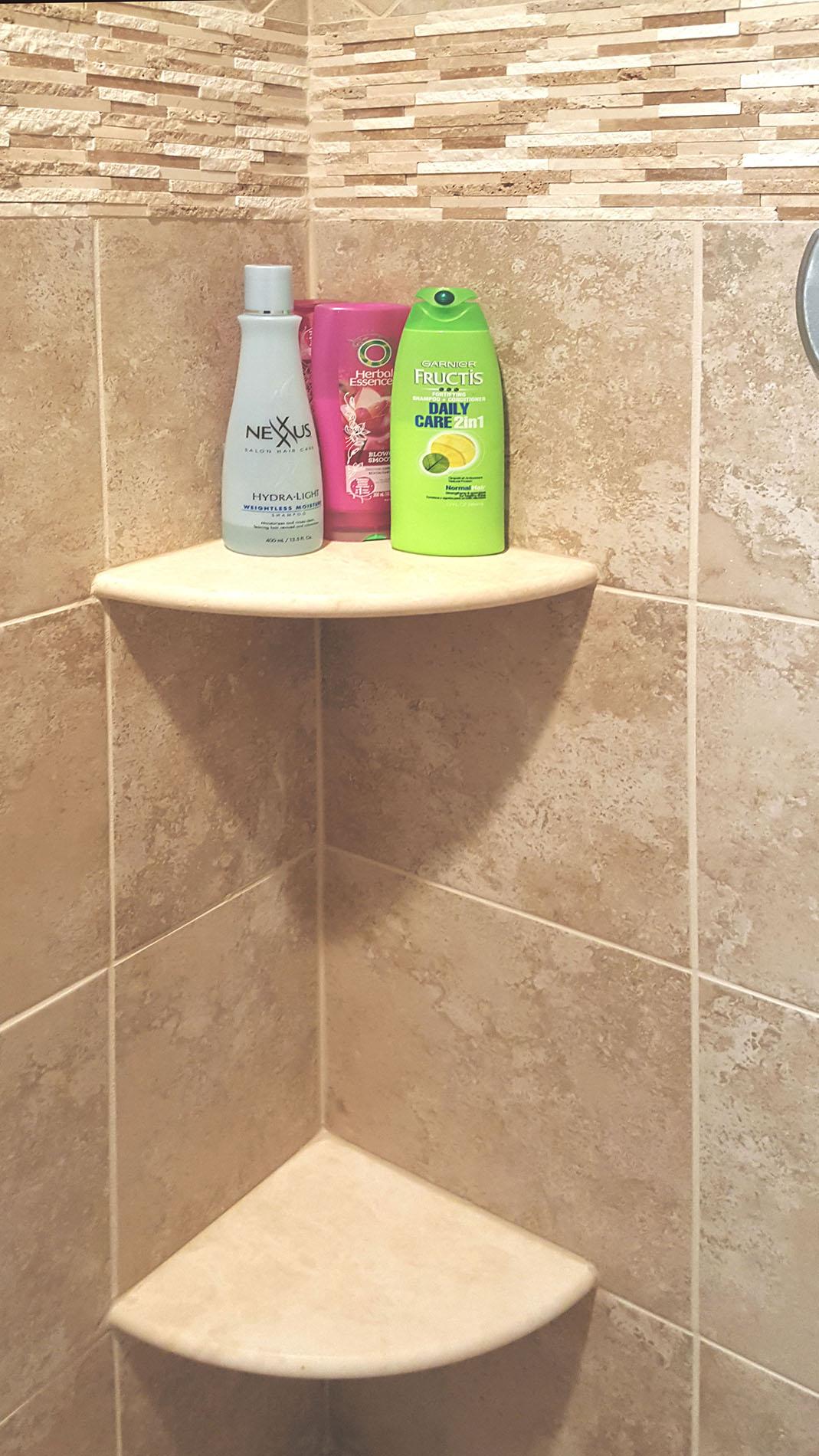 tiled shower corner niche