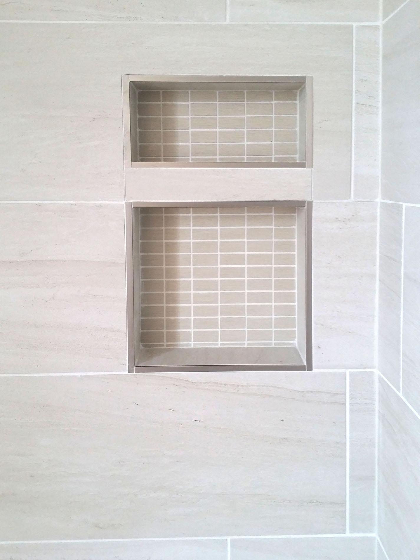 tiled shower inset niche
