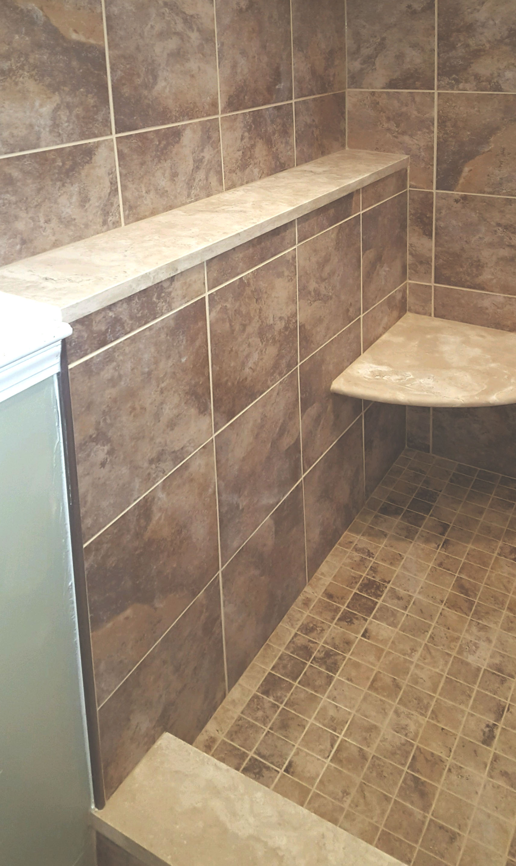 tiled shower corner niche & shelf