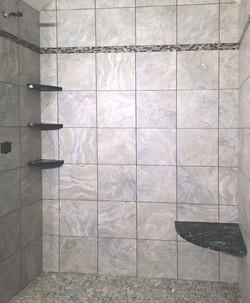 tiled shower corner shelves