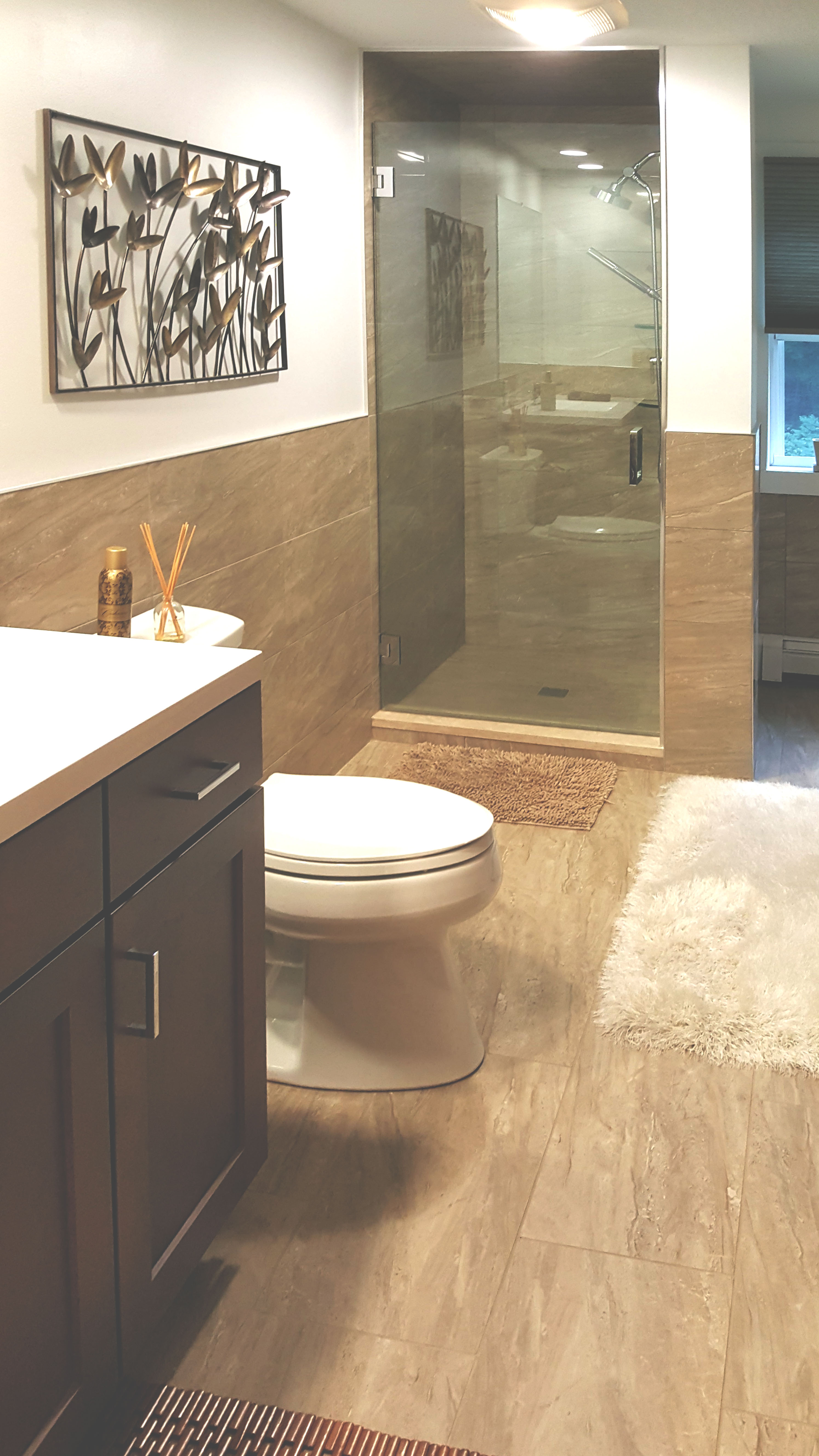 tile floor and shower installation