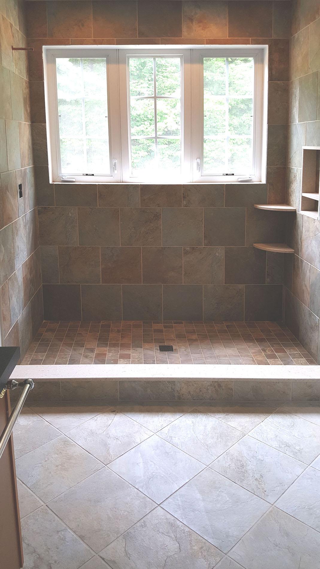 tiled shower corner shelves & niches