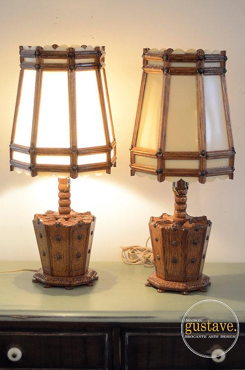 Duo de luminaires en bois