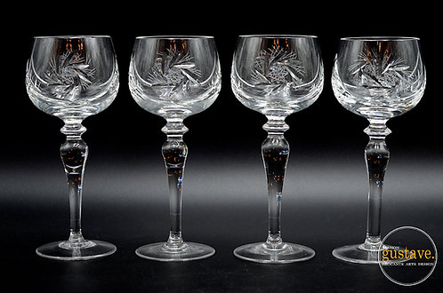 4 grandes coupes en cristal pinwheel