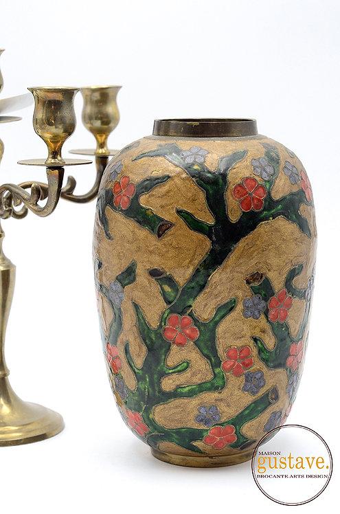 Vase en laiton cloisonné