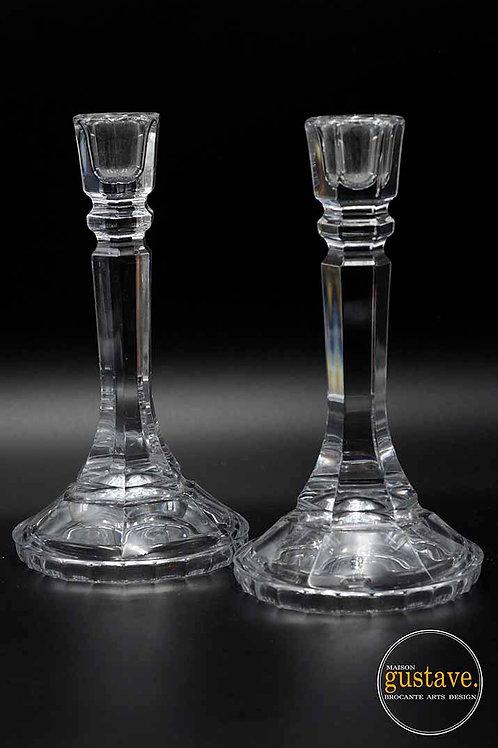 Duo de bougeoirs en cristal