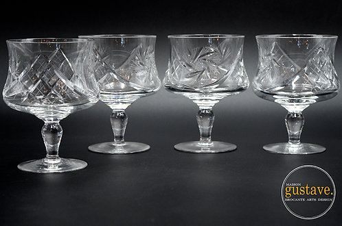 4 coupes crevette en cristal motif pinwheel