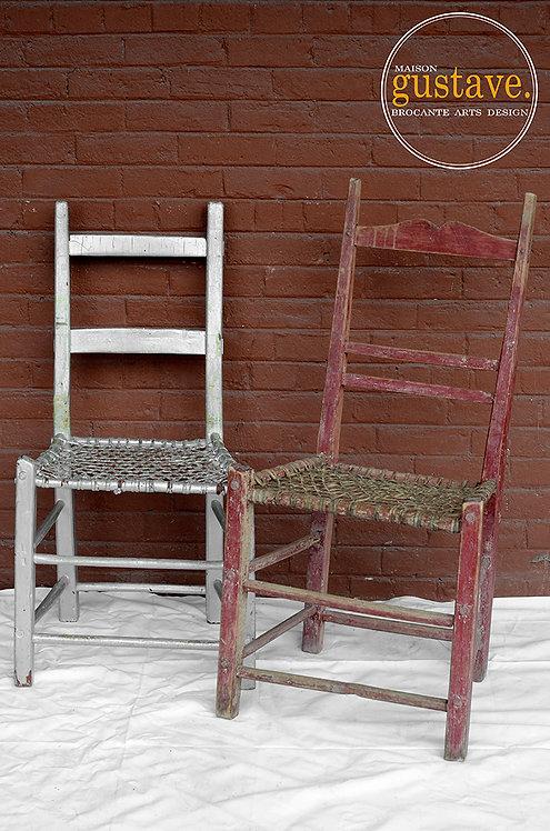 Chaises antiques en babiche